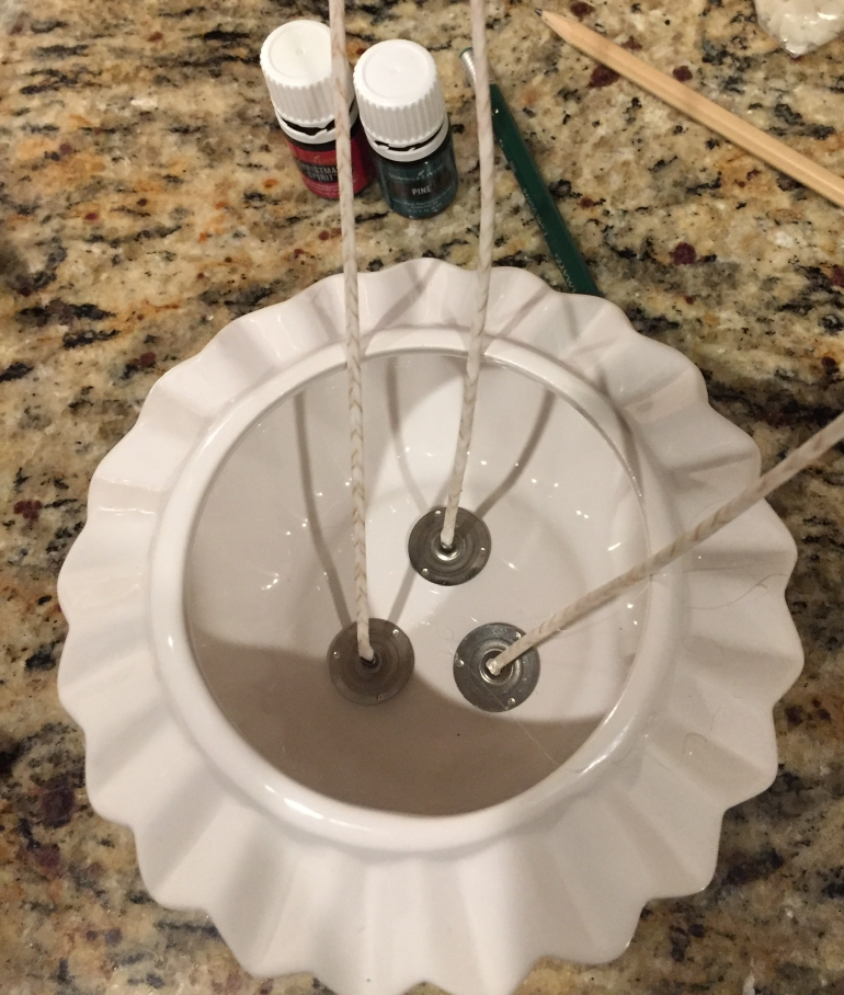 Preparing candle holder for DIY oil project